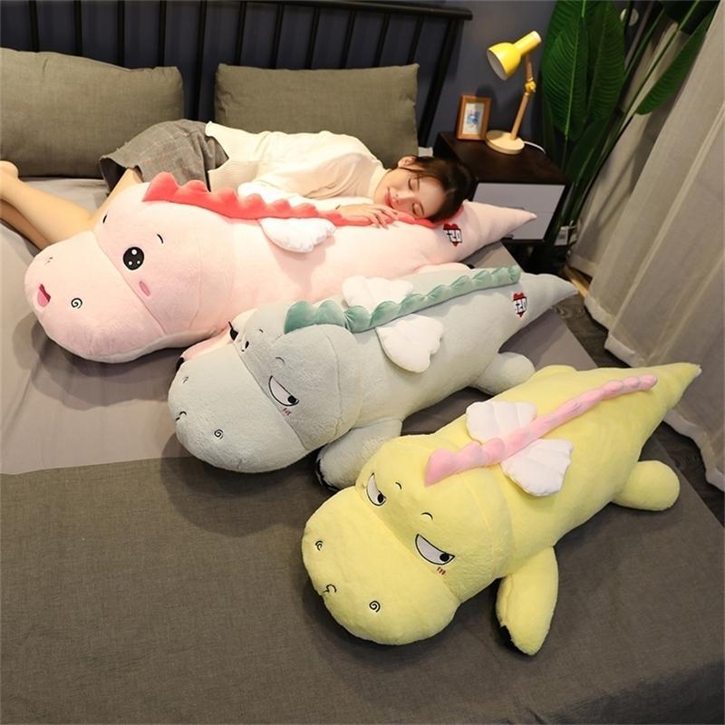 Langer Plüsch Dinosaurier Spielzeug super weiche gefüllte emotionale Dino mit weißen Flügeln 100/130 cm 5 Farben für Kinder, die 201214 anschrecken