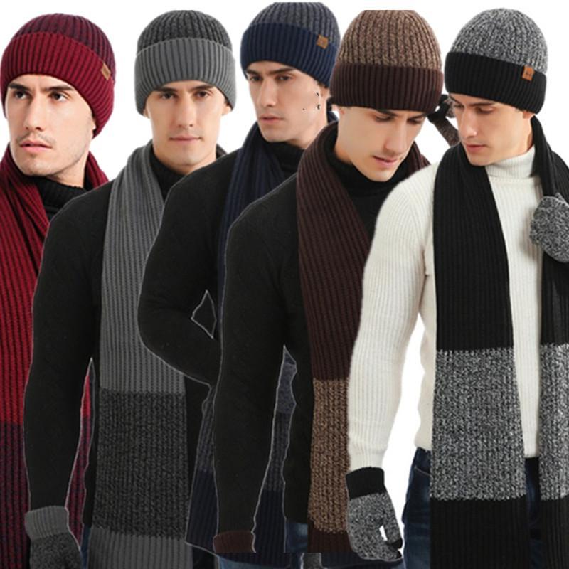 Inverno de malha chapéu de beanie + lenço + luvas conjunto mens cuffed crânio tampão slouchy dedo luva luvas de luvas de cor matching fatos ly112504