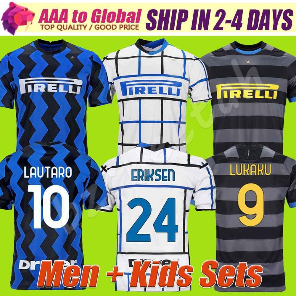 Lukaku Vidal Barella Soccer Jersey 2020 2021 Calcio Blue Black Home Alexis Lautaro Hakimi Eriksen Футбол Джерси Униформа Мужчины + Детский комплект