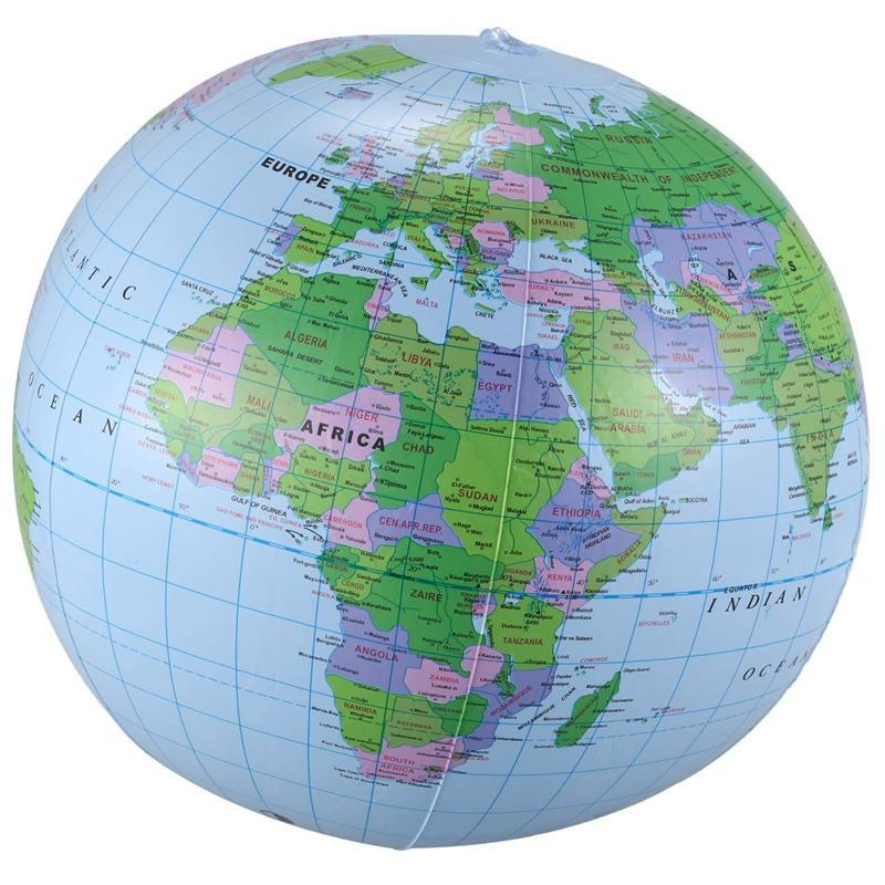 Inflatable Toy Globe Training Geography Map Balloon Water Ball 40 cm