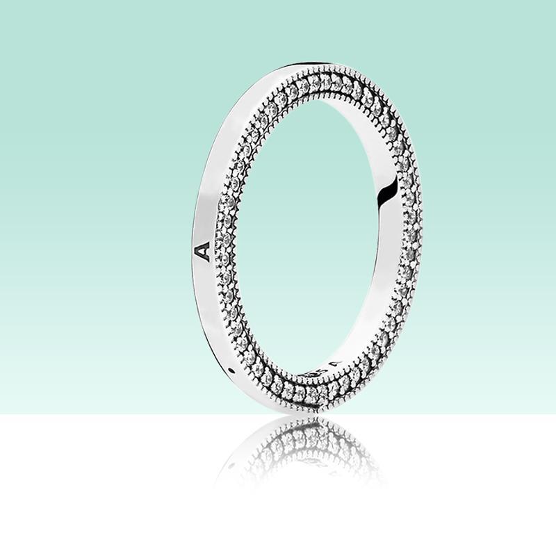Klasik Tasarım Kadın Erkek 925 Ayar Gümüş Yüzük Kutusu Için Hallmark CZ Elmas Takı Yüzük Seti Set