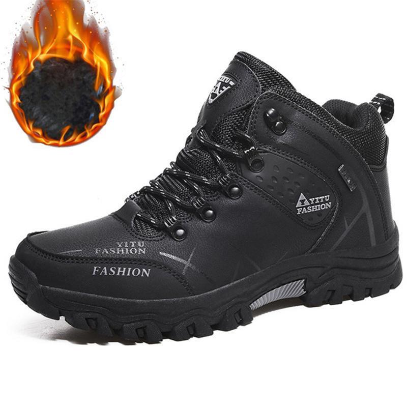Botas de tobillo de invierno Hombres de cuero zapatos casuales al aire libre impermeable trabajo de goma para hombre botas zapatillas zapatillas de deporte cálidas botas de nieve militares 201127