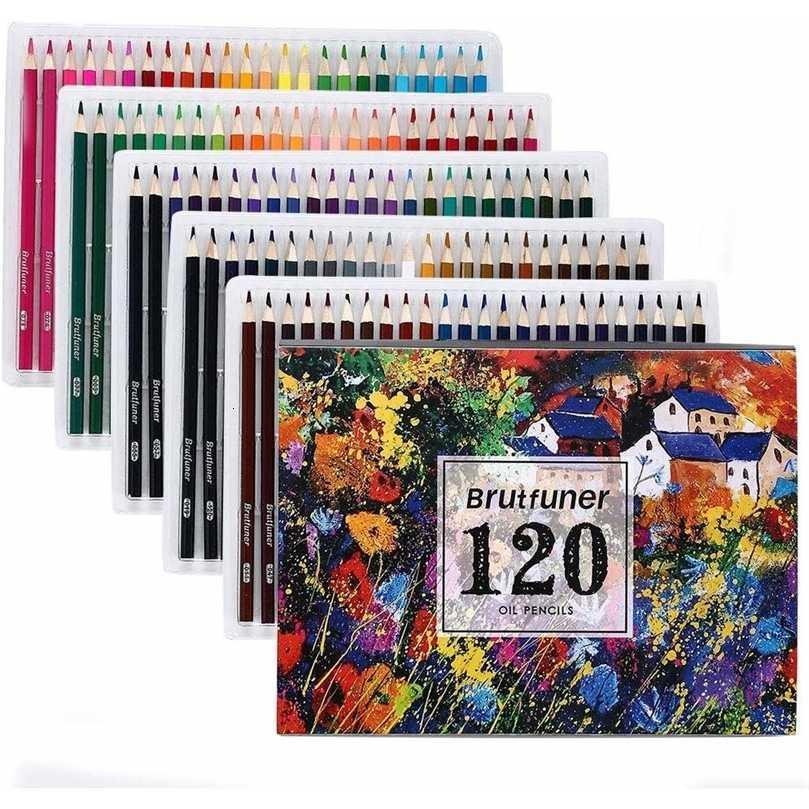 Brutfuner 48/72/120/160 Renkler Profesyonel Yağ Renkli Kalemler Set Sanatçı Boyama Çizim Kalem Okul Çizmek Sanat Malzemeleri 201223