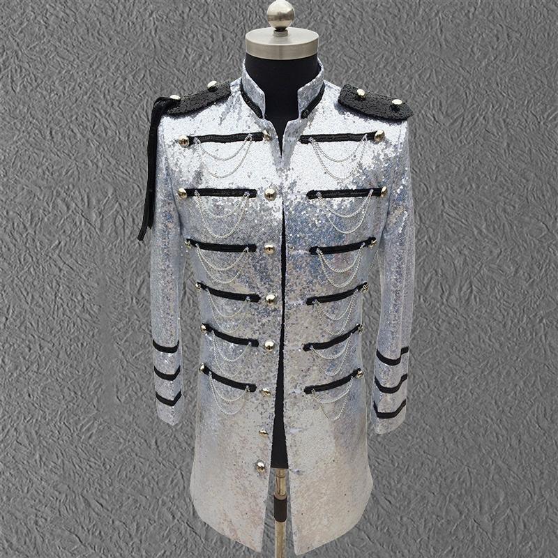 Lentejuelas negras Blazer Chaqueta de moda Vestido de novia de moda para cantante Dancer Discotecas de discapacidad Show Super Star Groom Coat