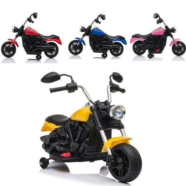 6V Kids Electric Ride on Motorcycle with Training Wheels PP Plastic Yellow/Blue/Red/Pink Children's Gifts