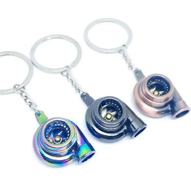 الحلي الإبداعية سيارة توربو سلسلة المفاتيح متعدد الألوان سبيكة الصوت الشاحن التربيني للنساء الرجال مفتاح سلسلة حلقة حقيبة قلادة الهدايا