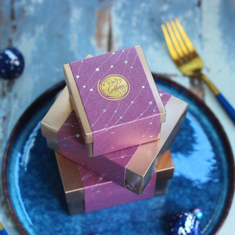 Creative Luxury Decoración de la boda Cajas de Candy Party Favoritos Favoritos Square Regalos de plata Caja Cajas de chocolate