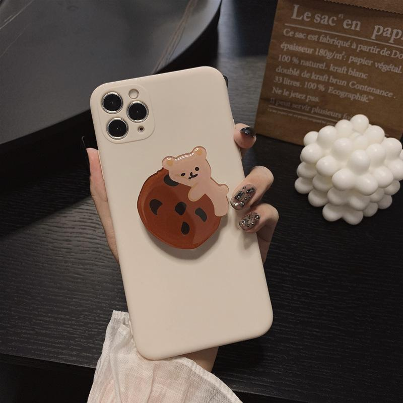 Mignon chocolat 3D ours Kawaii japonais Cas de téléphone pour l'iPhone 11 Pro Max XR Xs Max X 7Plus 7 8 Plus Case support de couverture de silicone
