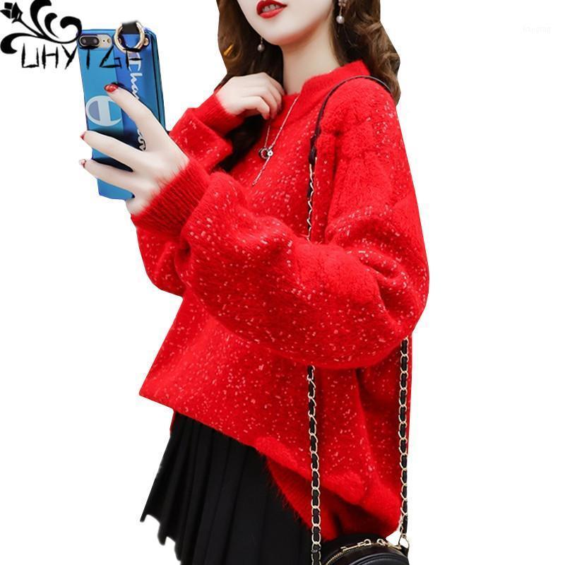 Suéteres para mujer Uhytgf otoño suéter de invierno mujeres moda bordado abrigo de punto femenino jersey elástico más tamaño tapa pull femme 6281