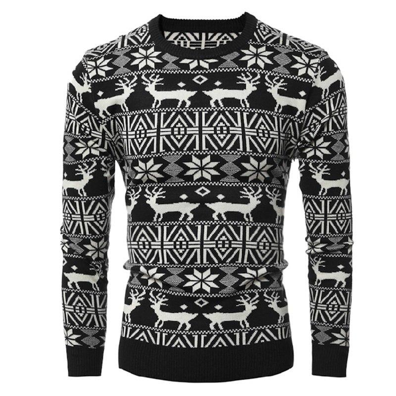 Natal de alta qualidade quente casual homens geometria veado impresso magro masculino pulôver outono blusas de malhas