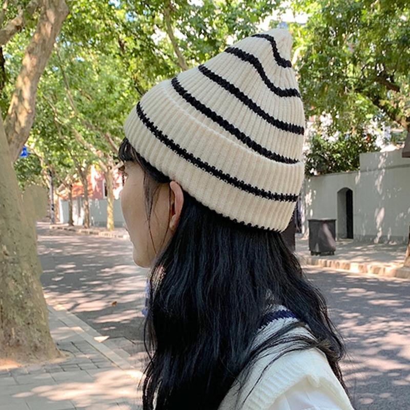 Унисекс зимняя ребристая вязаная шапка шапка полосы писем этикетки студент череп кепка x5xa1