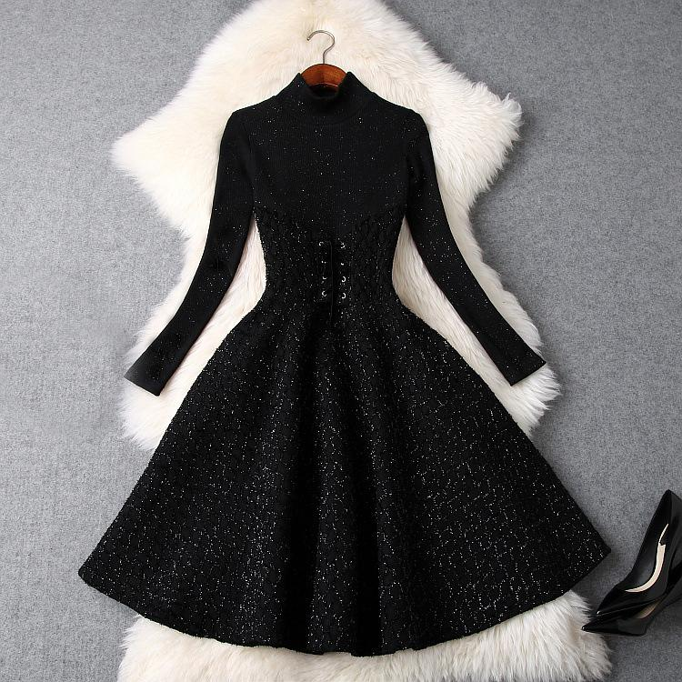 2019 Spring Luxury Long Sleeve Crew Neck Pure Color Knitted Ribbon Tie-Bow Knee-Length Dress Fashion Casual Dresses LD16T9249
