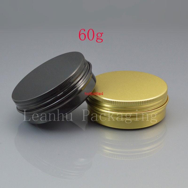 60g Siyah Boş Alüminyum Kozmetik Kapları 2 OZ Kavanoz Vida Kapaklı 60 ml Metal Altın Kutusu Hediye KonteynerGiydi Kaliteli