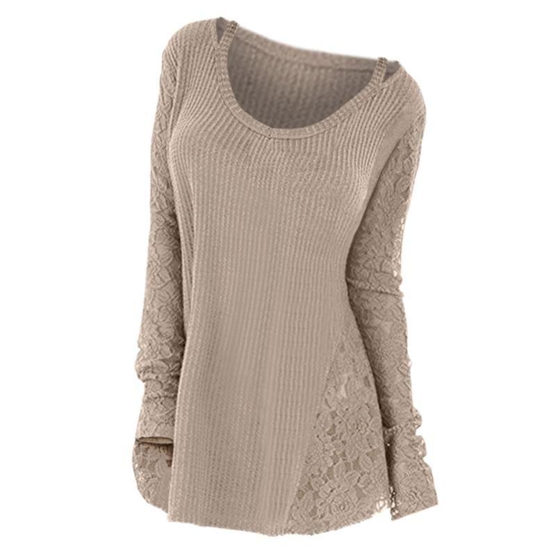 2020 Panneau de dentelle de la dentelle de la dentelle florale Pull à manches longues Automne hiver tricot tops Solid Jumper Pulls décontractés Tirez Femme