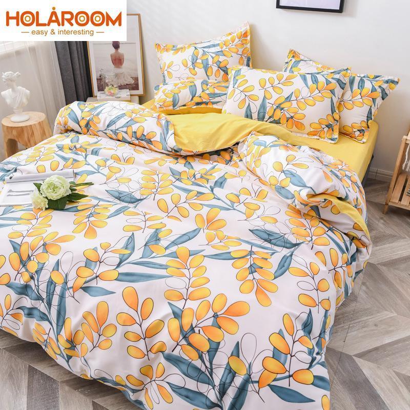 Conjunto de ropa de cama de estilo pastoral Dibujos animados Funda de edredón Sencillez Funda de almohada de la hoja de cama Simplicity Bed 3 / 4pcs Decoración de dormitorio Cubierta de cama