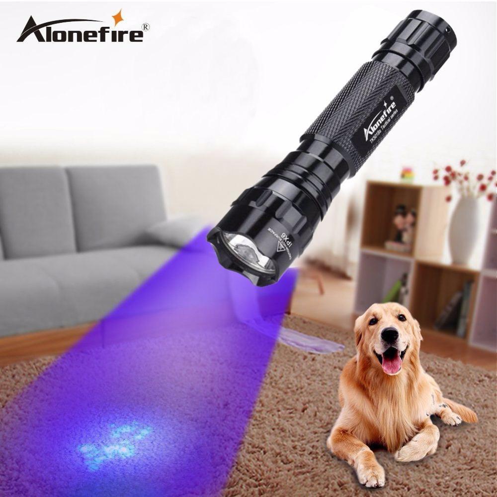 AloneFire 395-400nm High Power UV Torcia Torcia Scorpion Cat Dog Pet Oreine Money Ore Hotel Detection Health RechargeAb 18650 Torce della batteria