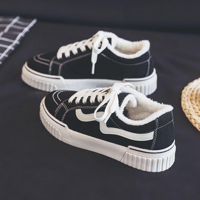 Kadın ayakkabı sonbahar ve kış rahat tüm maç siyah kanvas ayakkabılar 2020 kış yeni artı kadife iki pamuk ayakkabı