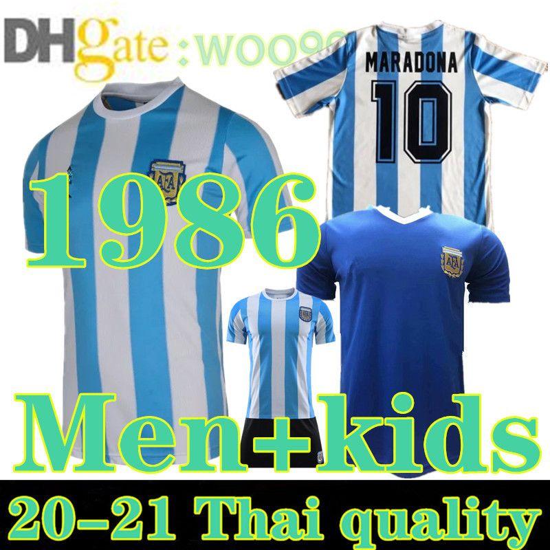 CHLID 1986 Maradona Argentine Jersey Soccer Jersey Maradona Kids 86 Vintage Classic Home Retro Football Shirts Maillot Camisetas de futbol