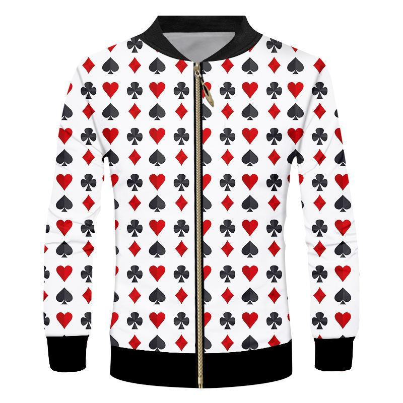 Herrenjacken Reißverschlussjacke Männer Langarm Tops 3D Print Poker Mantel Unisex Harajuku Herbst Sweatshirt Kleidung S-7XL