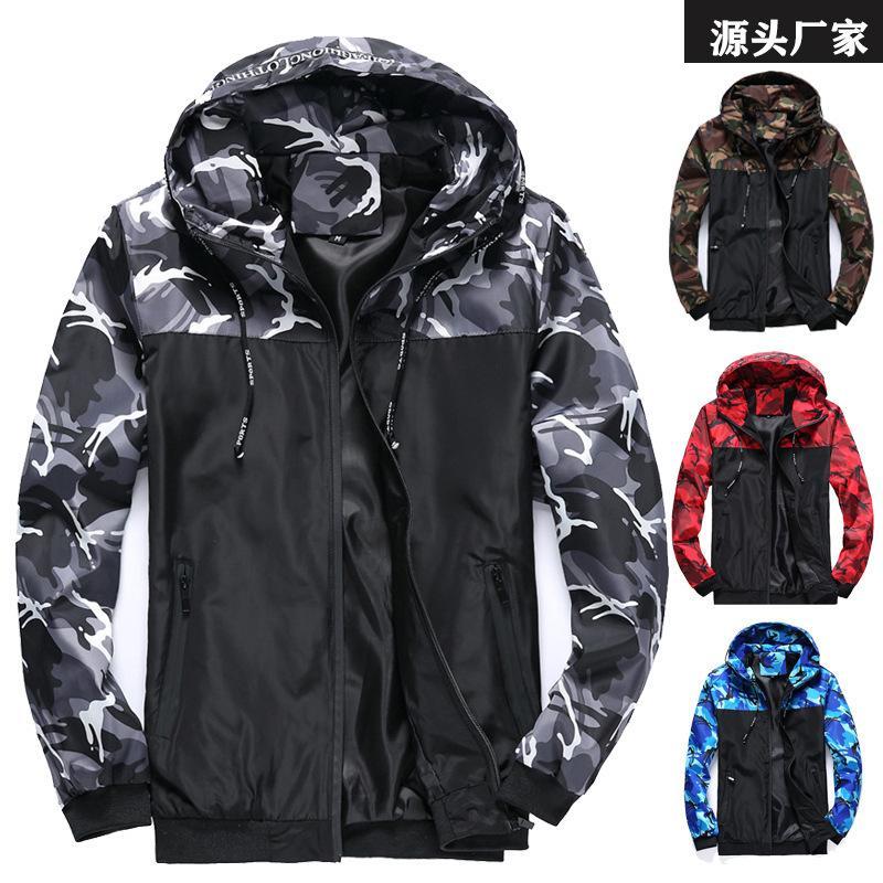 Камуфляжная мужская куртка, мужская пальто, оснастка, с капюшоном, сопоставлением цвета, новая молодежь