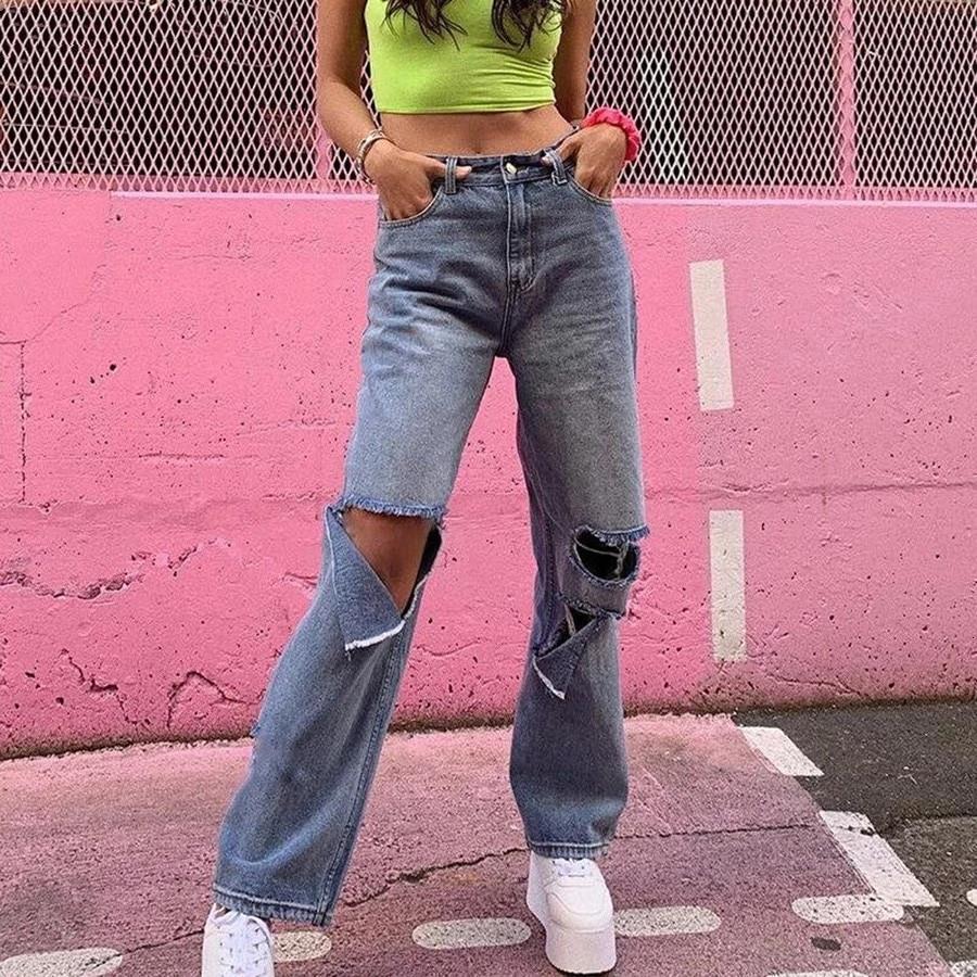 Retro hueco pantalones vaqueros pantalones casuales sueltos delgados altos cintura alta jean agujero femenino pantalones calientes callejeros 2020New