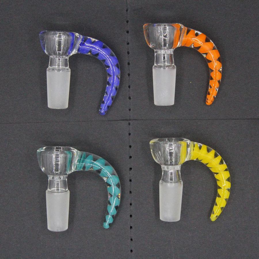 New 4 Style Horn Bowl Gancio in vetro Gancio in vetro GRATUITA GRATUITA MANUALE MASCHIO MASCHIO AGGIUNTO Bella ciotola di scorrimento Accessori per fumare per Bongs Tubi d'acqua