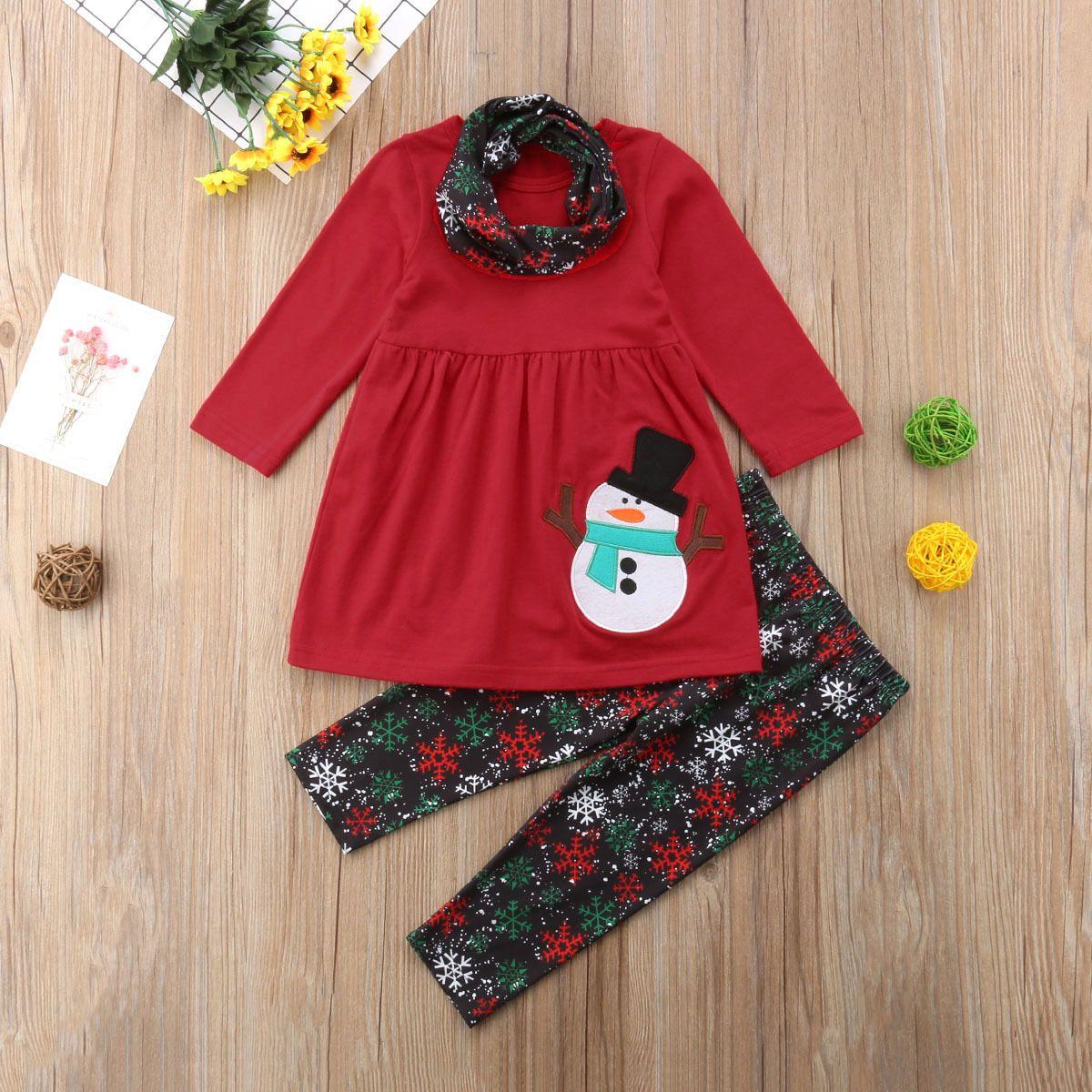 Детская девочка одежда для одежды Рождественские наряды 3 шт. Шарф наборы девочек Девушки Санты Клаус платье со снежинками штаны 1-6Y