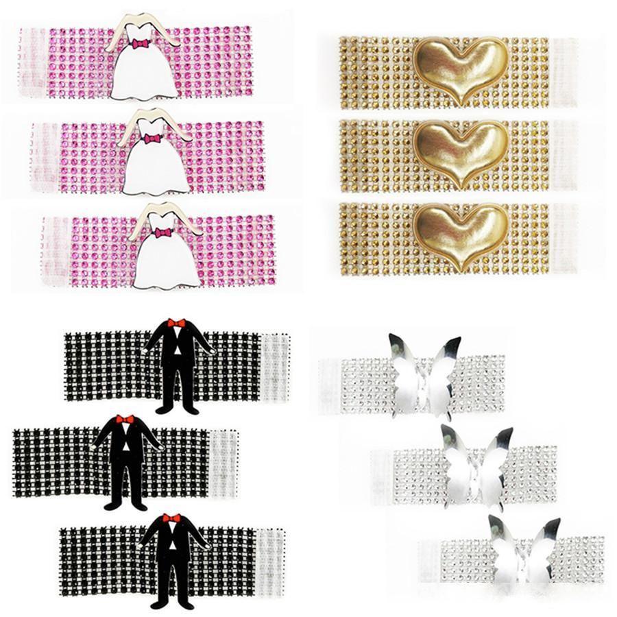 20 adet Elmas Peçete Yüzük Düğün Dekorasyon için Prenses Etek Prens Peçete Tutucu Yüzük Parti Masa Dekorasyon Aksesuarları 3