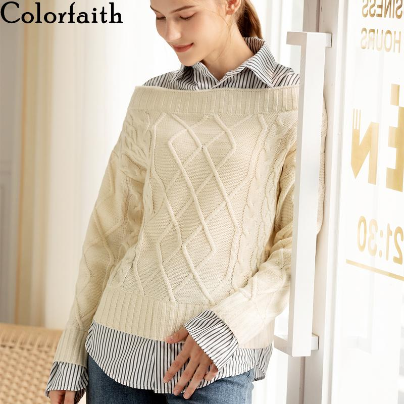 Colorfaith New 2019 Autumn Winter Women Pullovers Sweater V-Neck Knitting Patchwork Elegant Office Lady Blouse Tops SW8550 F1204