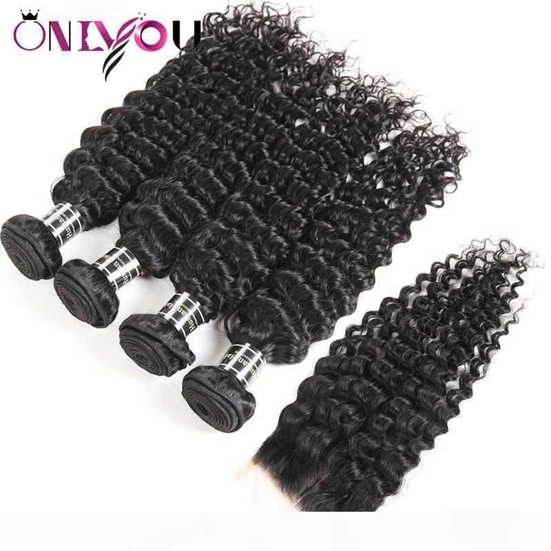 Fermeture de cheveux Virgin Virgin Brésilien Virgin Virgin Kinky Curly Humain Hair Weave Bundles avec fermeture droite 4 Bundles et tisse Cheveux Wefts Wholesale