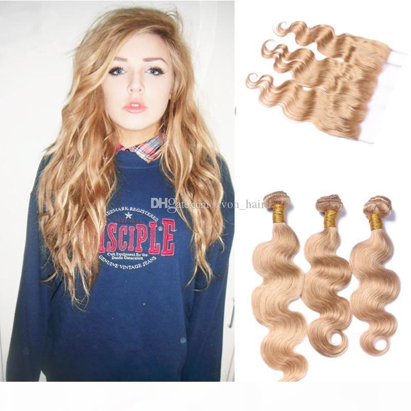 Медовые блондинки девственные волосы 3 пучка с кружевной лобной замыканием Малайзийцы # 27 Blife Blonde Body Wave Wave Weaves с 13 * 4 Frontal