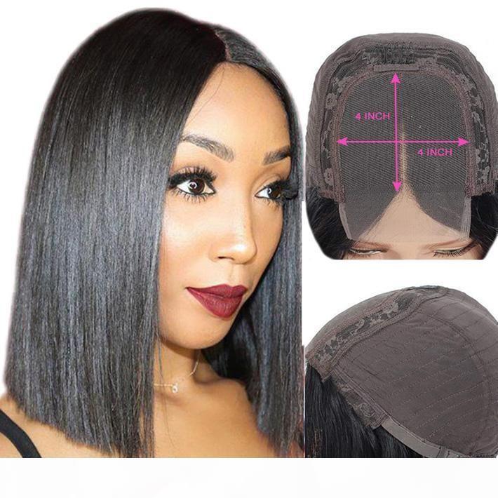 Natural Bob Wig Pixie Cut Malasian Remy Human Human Human Spingless Lace Front Wigs For Black Women 4x4 Peluca de cierre Pelubre