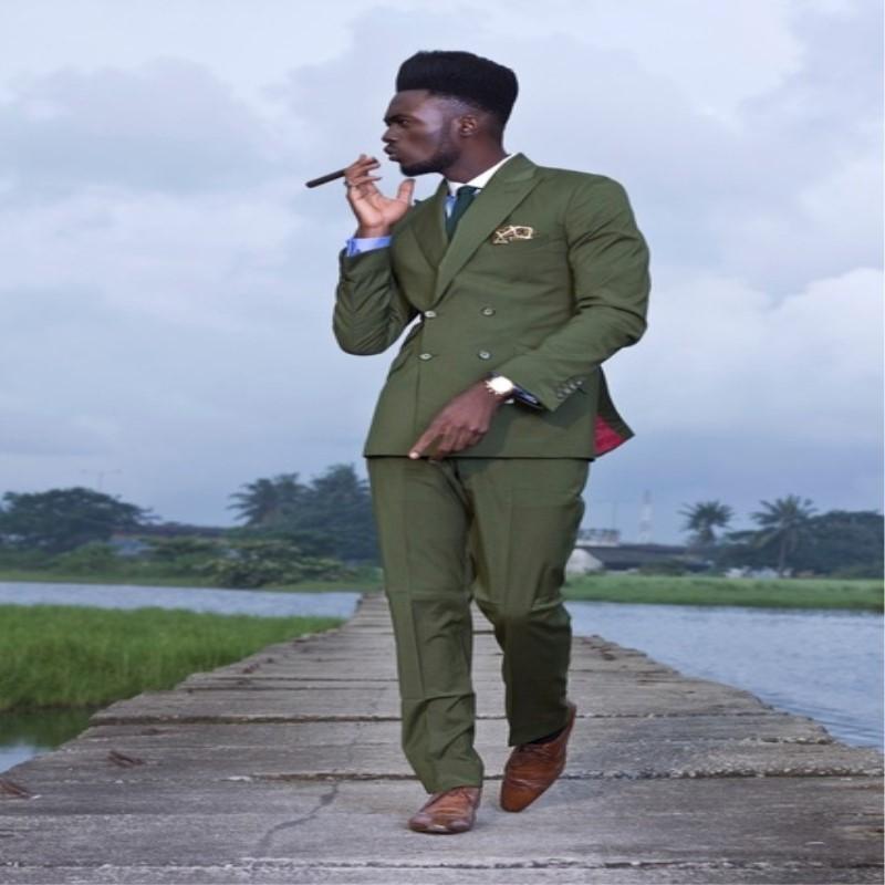Men's Suits & Blazers Latest Coat Pant Designs Green Double Breasted Men Suit (Jacket+Pants) Smart Casual Custom Jacket Slim Fit Tuxedo