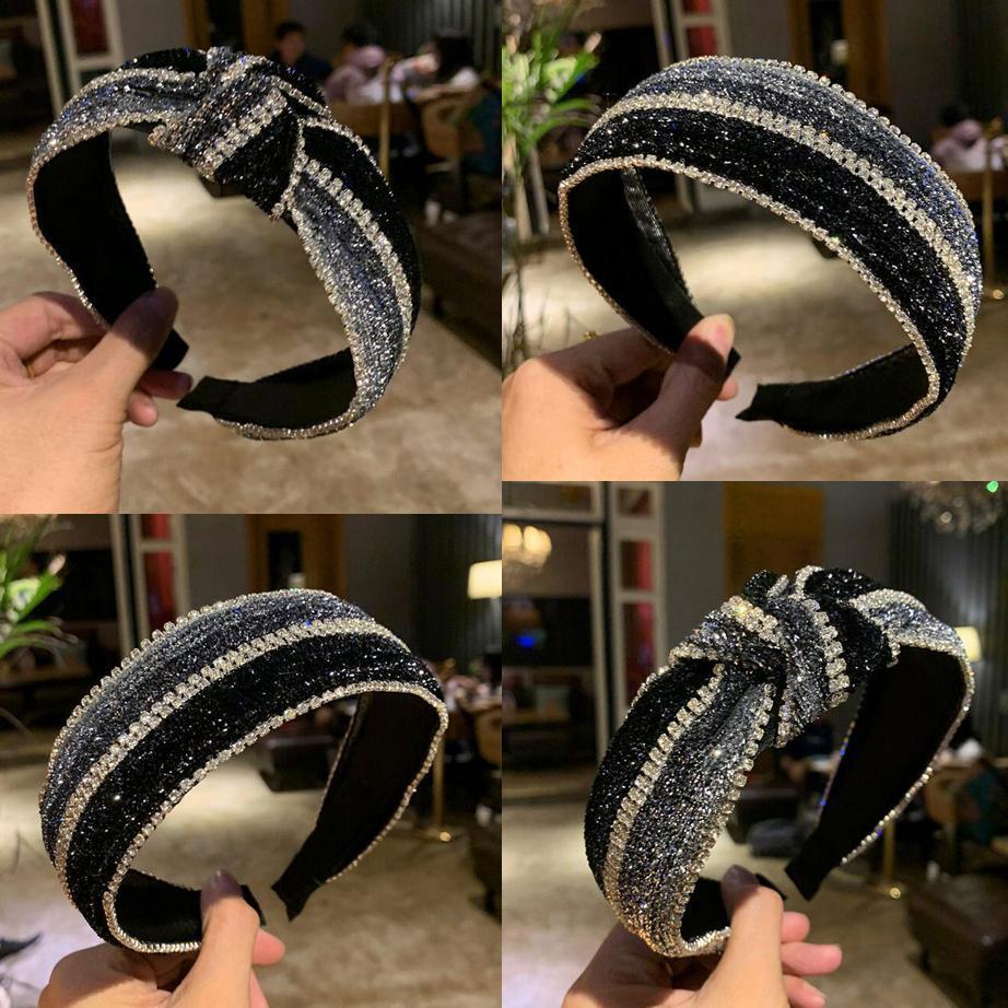 2021 NUEVA MODA DE MODA CUERDA PANEZADA CHURMA MUJER CRISTAL Headwear Estilo coreano Impreso Edge ancho Pelo Hoop Hoodband Mujeres Accesorios para el cabello
