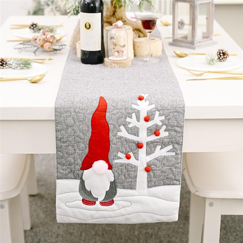 Christmas Santa Gnome Plush Doll Table Runners Xmas Party Tablecloth Family Dinners Hotel Banquet Placemat JK2011XB