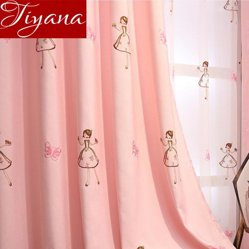 Cortinas niñas Pink Bordado Voile Voile Kids Room Habitación Dormitorio Sala de estar Curtianos Drapes Tulle Sheer Cortinas X298 # 30