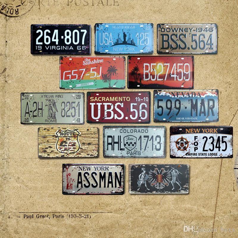 2021 American Colorado Florida Vintage Garage Numéro de voiture Plaque d'immatriculation en métal Panneaux Panneaux muraux peinture camion 30 * 15cm Shabby Chic numéros