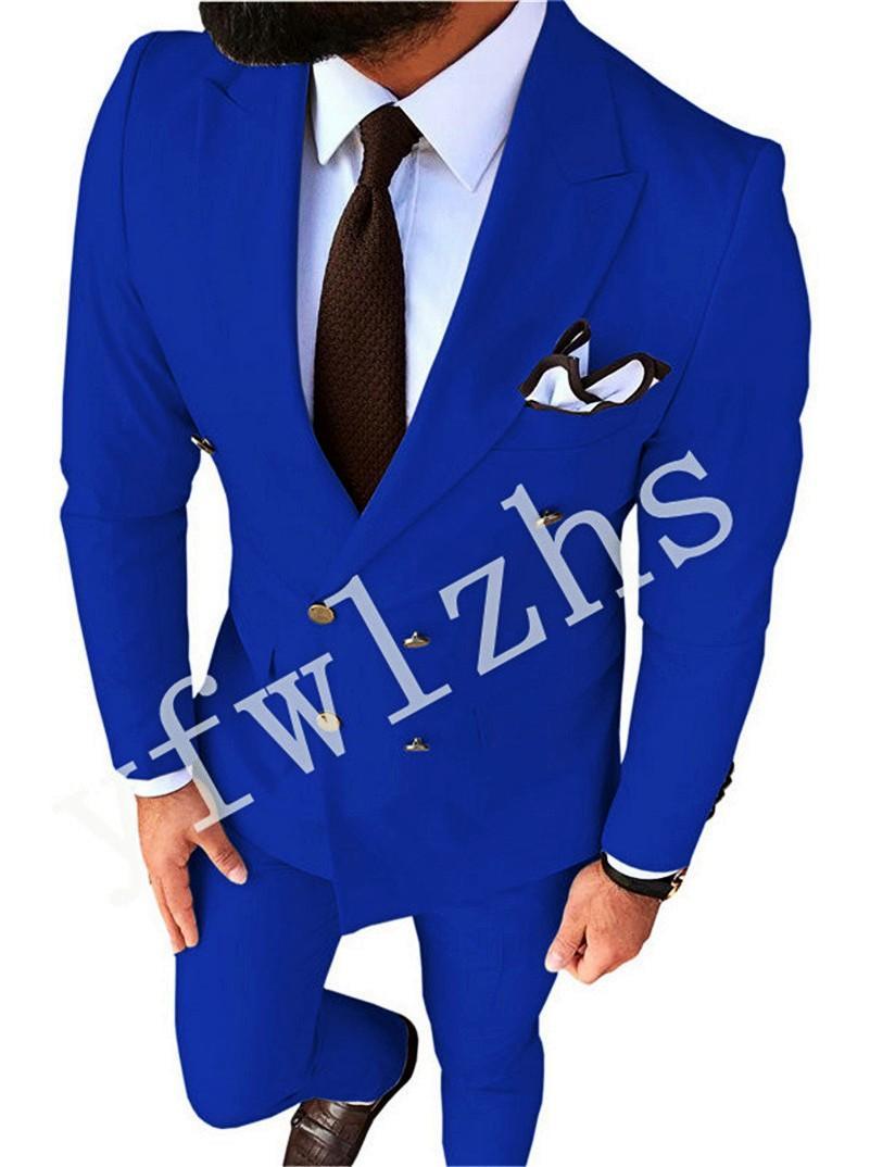 Custom-made Double-Breasted Groomsmen Peak Lapel Groom Tuxedos Men Suits Wedding/Prom/Dinner Best Man Blazer(Jacket+Pants+Tie) T309
