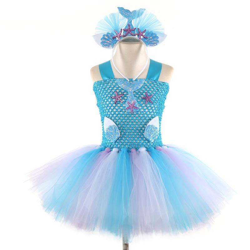 Sirène été princesse robe de plage fête de plage tutu robes enfants designer enfants vêtements A5017