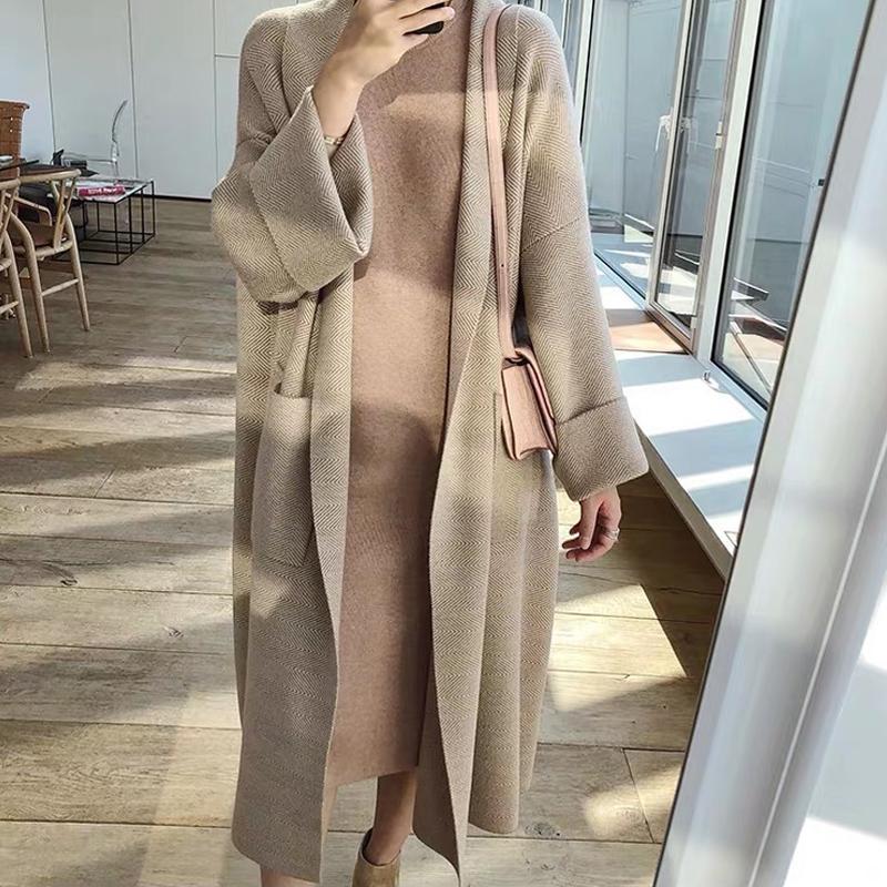 2020 NOUVEAU Design Femme Casual Casual Camel Lâche Couleur à manches longues Maxi Maxi Pull Long Cardigan Casacos Plus Taille S M.