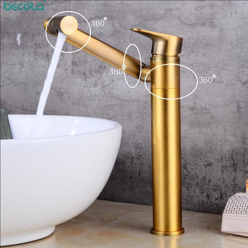 Faucets de lavabo de baño Becola Becola Antigua Bronce Grifo de latón 360 Grados giratorios y agua fría Lavabo de lavabo