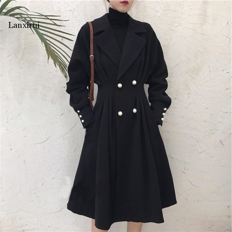 Plus Size XL-5XL Trench lunghi per le donne autunno autunno inverno nero Duster Swuster OverCoat Gothic Glothbreaker Streetwear1