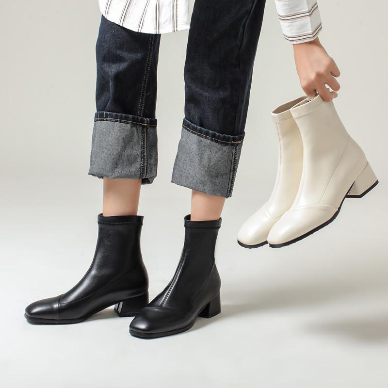 YQBTDL Moda Sexy Bege Preto Botas Curtas Botas Chunky Heels Inverno Senhoras Escritório Vestido Sapatos Deslize em Stretch PU Ankle Botas