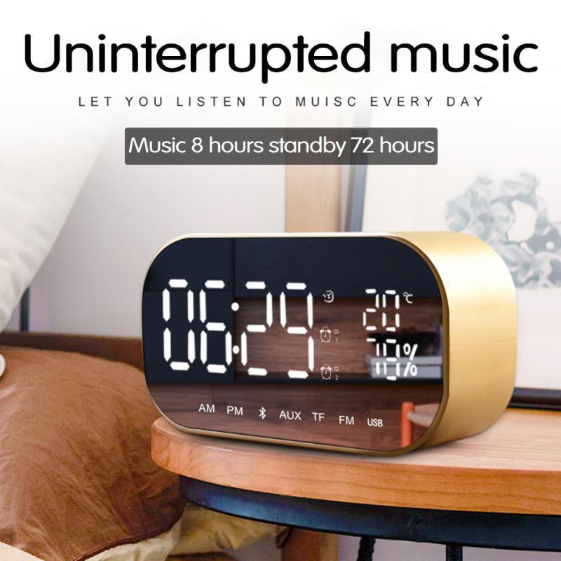 LCD Digital Dual Alarme Espelho Relógio Sem Fio Bluetooth Speaker Bass FM Rádio USB Carregando Cabo Música Player Snooze Temperatura