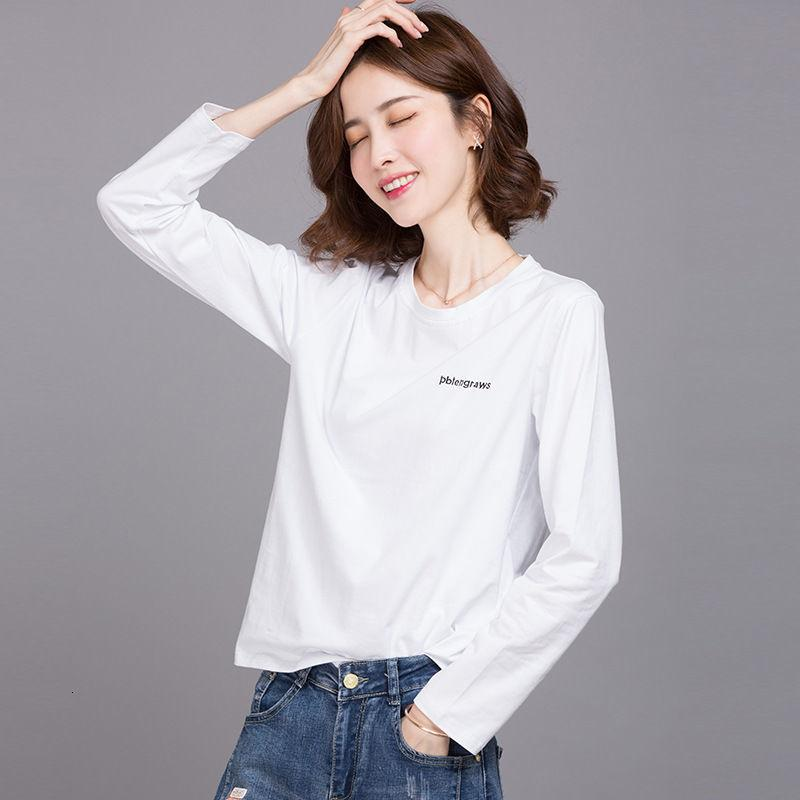 Hengyuanxiang 2020 Camiseta de algodón de manga larga blanca camisa de fondo de las mujeres otoño corto coreano suelto top