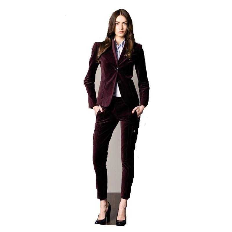 Fashion Women Women Share Shawl Lapel Terno Para As Mulheres Dois Botão Negócios Mulheres Velvet Suits Office Uniform 2 Piece Set