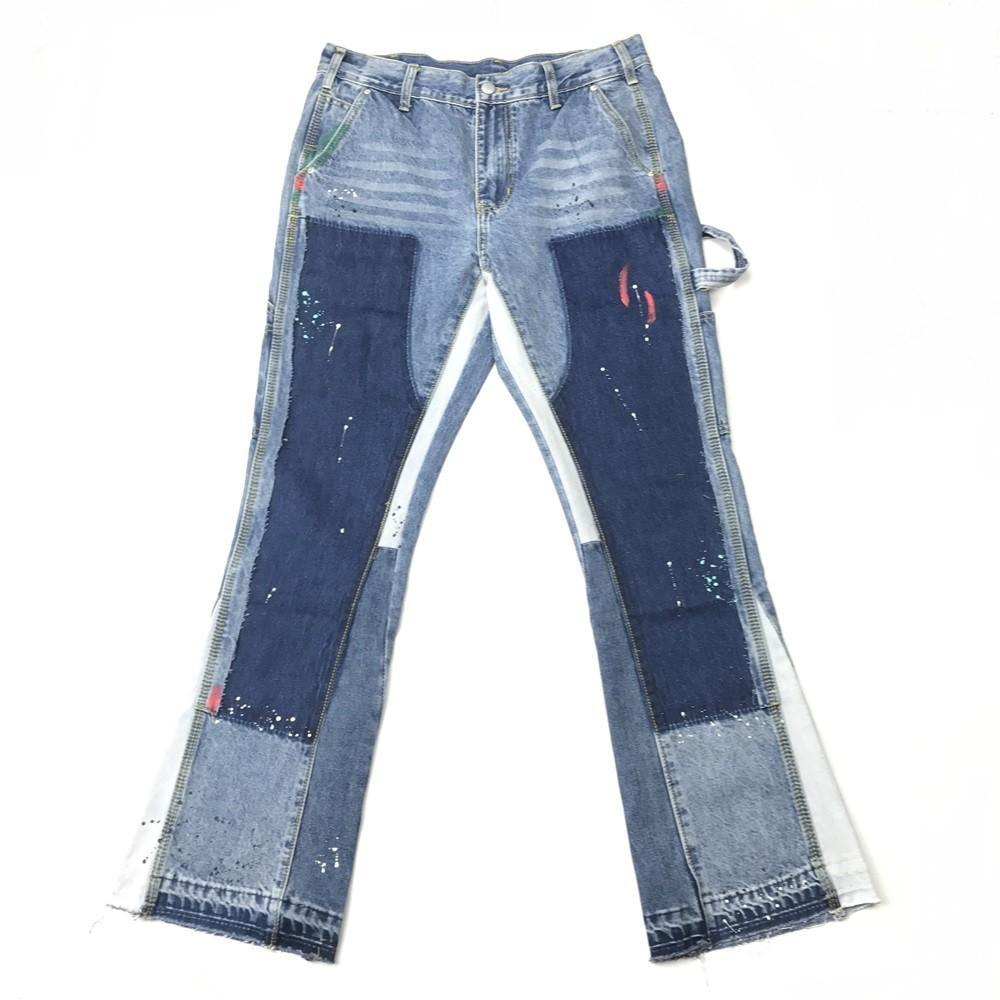 Blu multicolore splatter pittura a zampa Jeans Uomo rappezzatura pantaloni Otto-Pocket Styling