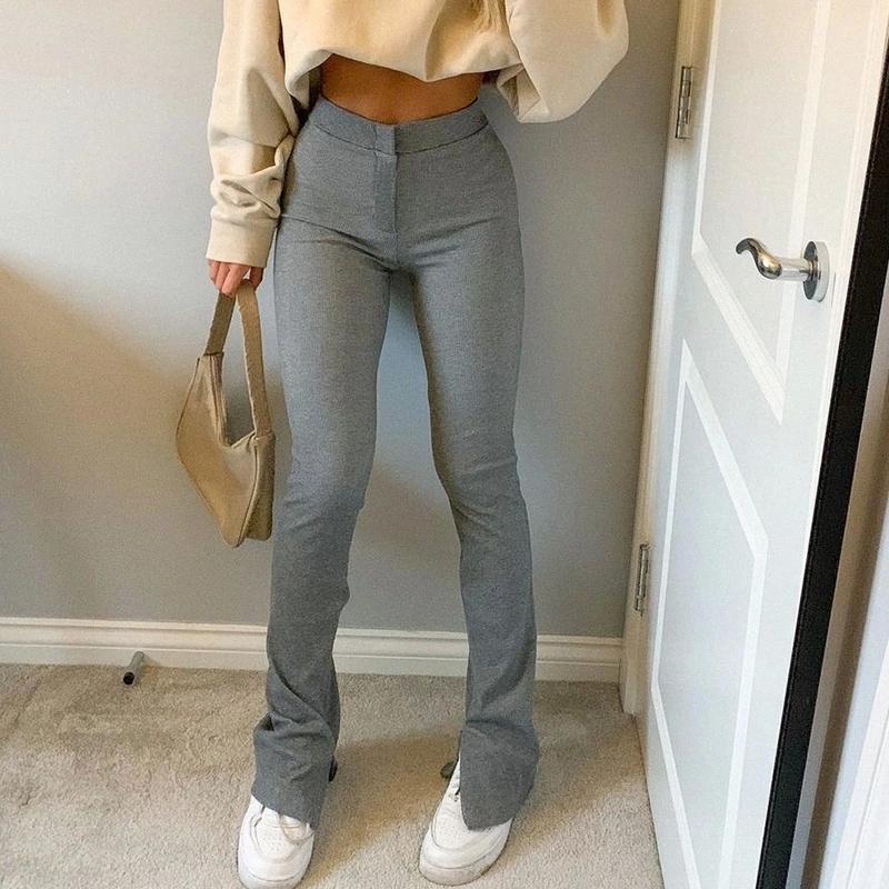 Kadınların Casual Ince Pantolon Yüksek Bel Katı Renk Uydurma Konfor Streç Bölünmüş Hem Sweatpants Günlük Spor Salonu Fitness Botları # 7i5i