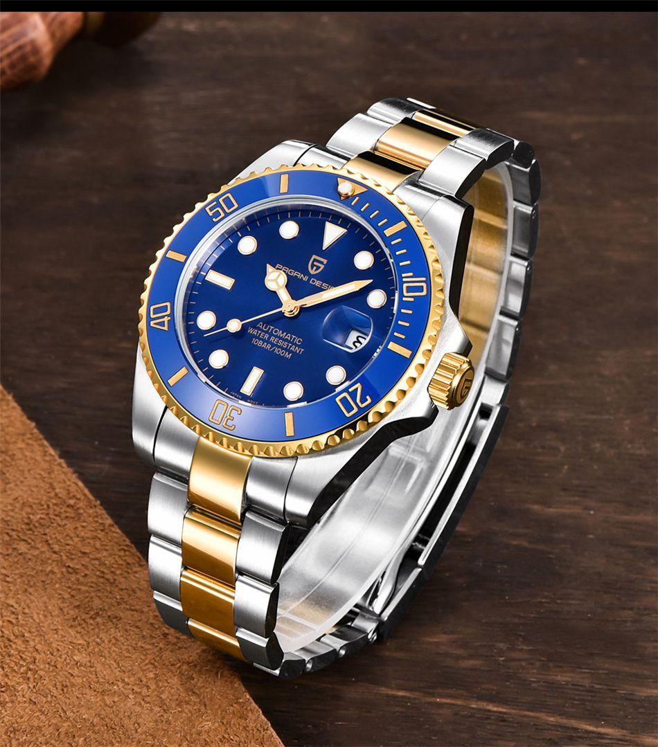 Pagani Design Ton Ton Blue Lunette en céramique Montres Montres de plongée Mouvement mécanique Hommes Acier inoxydable 116613 Montres-bracelets