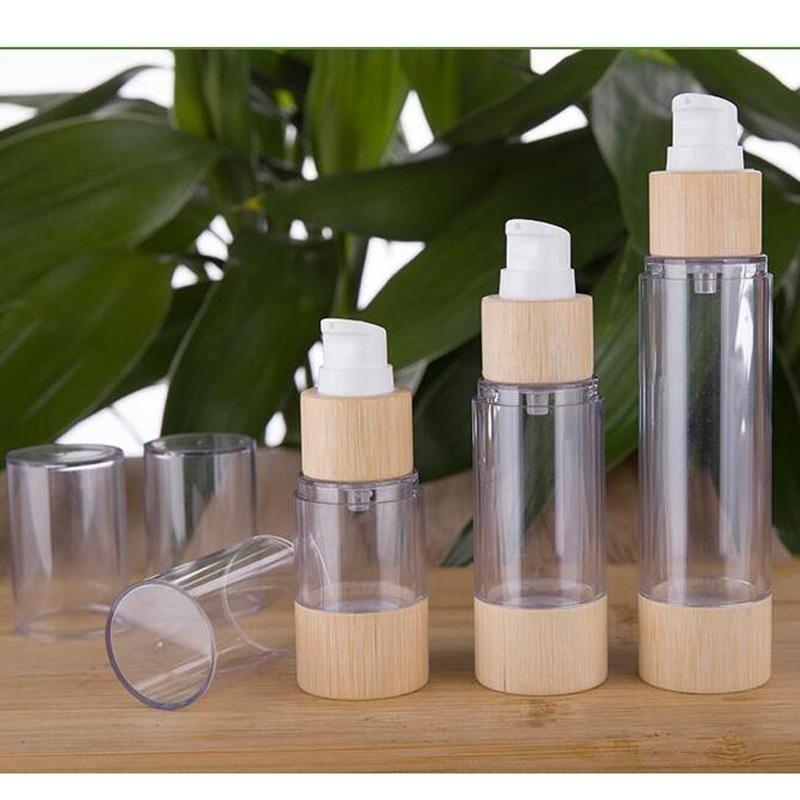 Umweltfreundliche Bambus 20ml 30ml 50ml 120ml Leere Airless Vakuumpumpe Flaschen für Make-up-Sahne Serumlotion Hautpflege 10pcs / lot